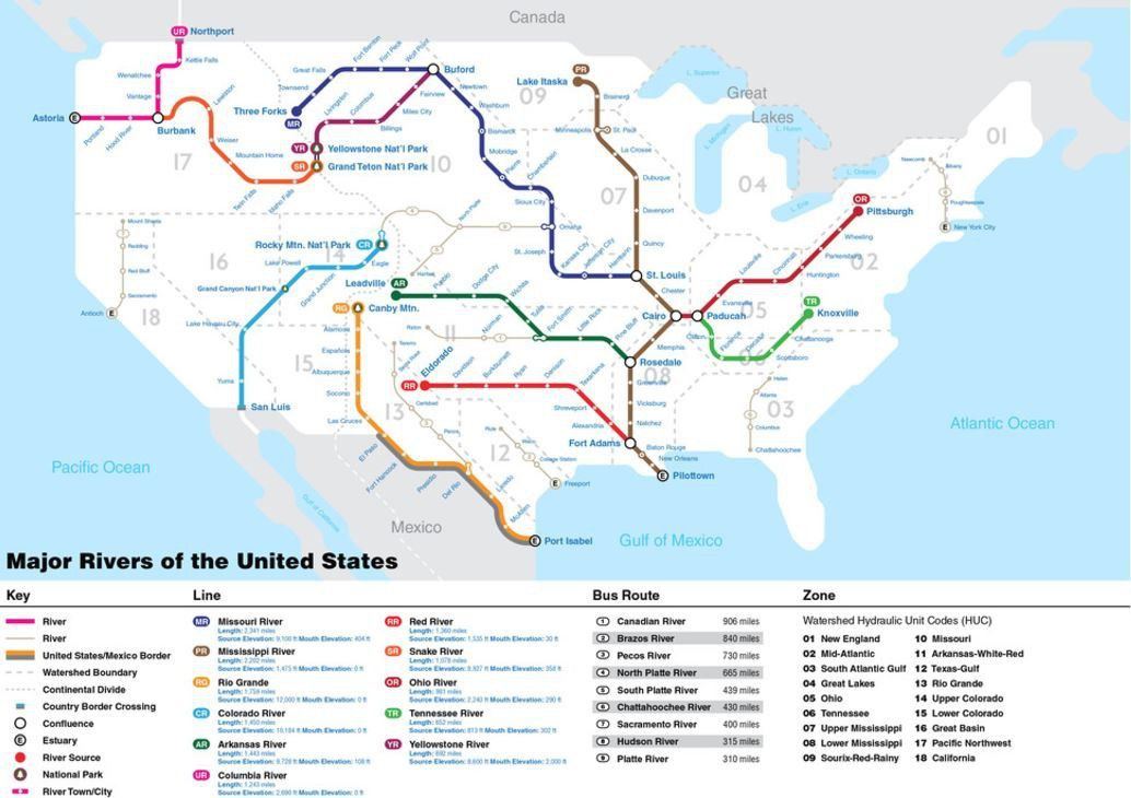 Mapping Us Rivers Like A National Subway System Curbed - Map-us-rivers