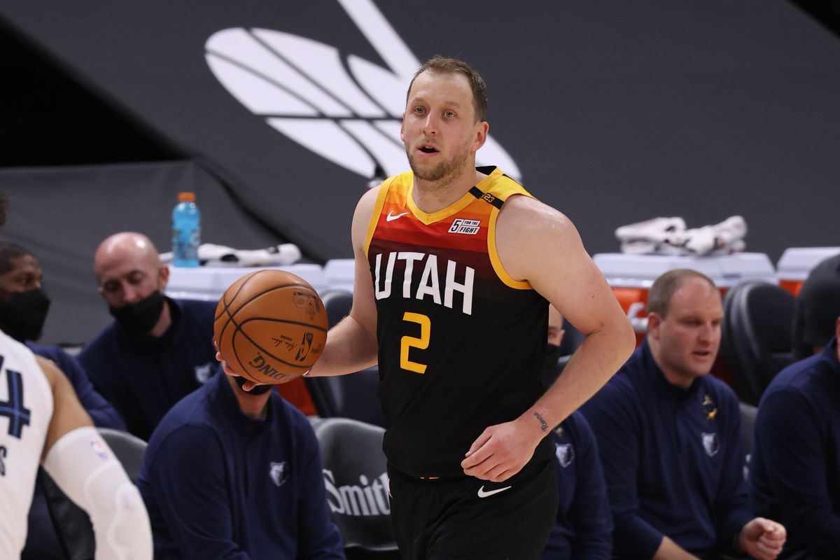 Joe Ingles of the Utah Jazz handles the ball against the Memphis Grizzlies during Round 1, Game 5 of the 2021 NBA Playoffs on June 2, 2021 at vivint.SmartHome Arena in Salt Lake City, Utah.