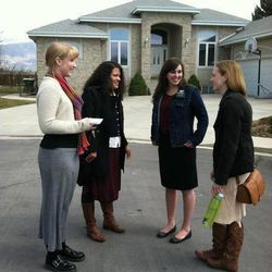 From left to right, Sister Marieke Jeromin, 23, of Hamburg, Germany, and Sister Ricelia Magana, 21, of Dallas, sister training leaders in the Utah Provo Mission, talk with Sister Alicia McMurray, 20, of Ogden, Utah, and Sister Aubrey Allen, 20, of Portland, Ore., before a companion exchange.