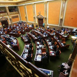 Members of the House of Representatives debate as Utah's Legislature gather Wednesday, Aug. 19, 2015, at the state Capitol in Salt Lake City for a special session to vote on moving the Utah State Prison from Draper to the west side of Salt Lake City.