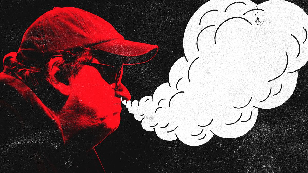 An illustration of Michael Moore with a red face and steam coming out of his nose