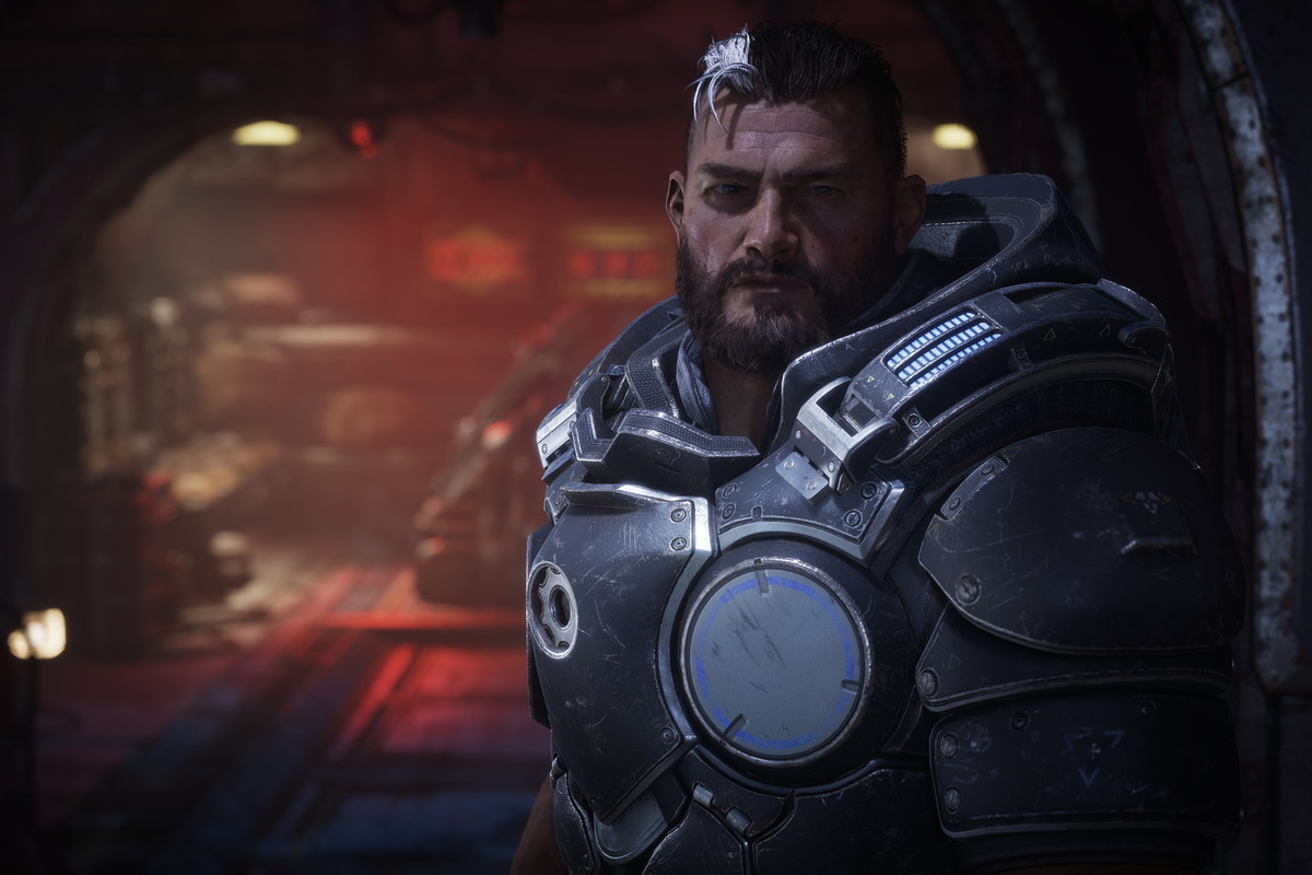 Gabe, a new Coalition of Ordered Governments soldier created for Gears Tactics, looks out from his hardened underground bunker.