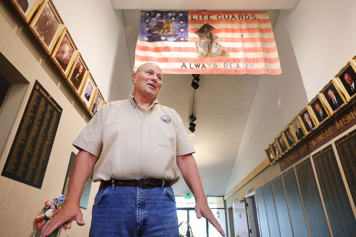 Brad Clayton, president of the Sons of Utah Pioneers, talks about a flag carried by the Mormon Battalion that is on display at the organization's office in Millcreek on Wednesday, July 14, 2021.