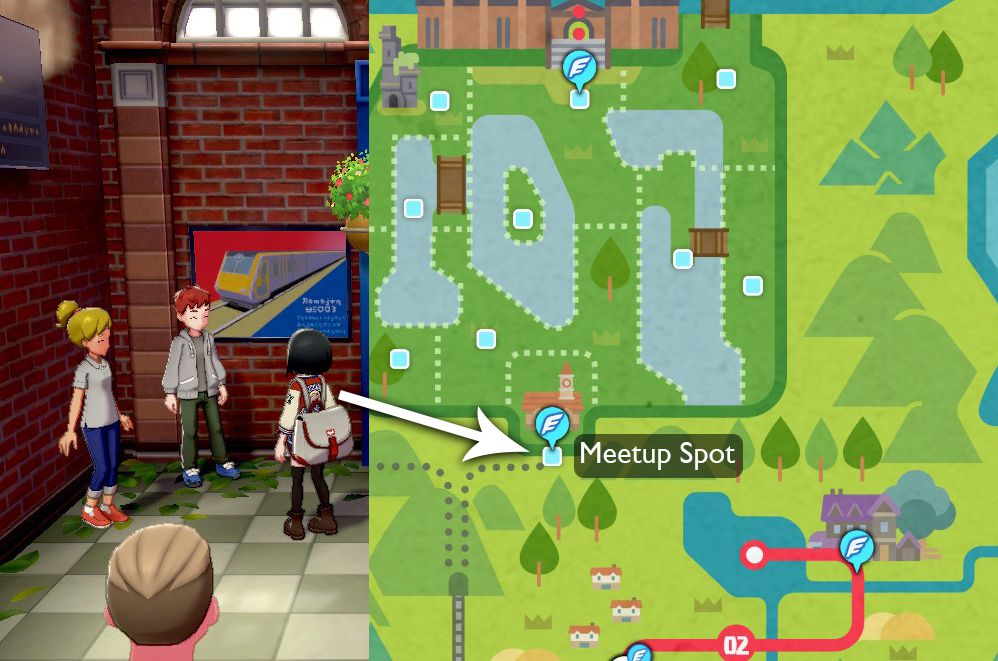 A map points out that the two NPCs that reward Pikachu and Eevee can be found at the train station in the Meetup Spot zone of the Wild Area