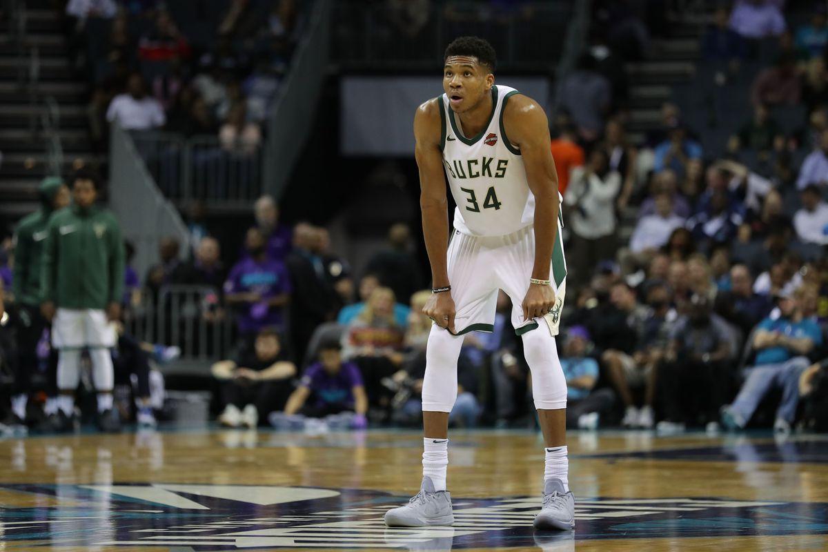 Milwaukee Buck Giannis Anteokounmpo watches the on-court action