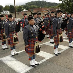 Bagpipers from VMI marched in the Labor Day parade in Buena Vista, Va. on Monday, Sept. 3, 2012. The parade is the first big political event of the season in the Shenandoah Valley.