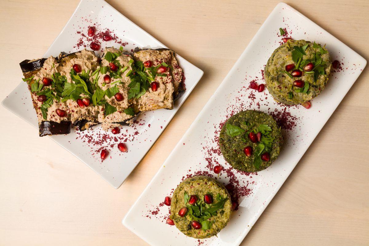 Eggplant salad and assorted pkhali