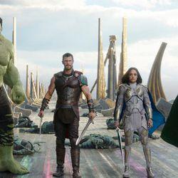 "Mark Ruffalo as the Hulk, left, Chris Hemsworth as Thor, Tessa Thompson as Valkyrie and Tom Hiddleston as Loki in a scene from ""Thor: Ragnarok."""