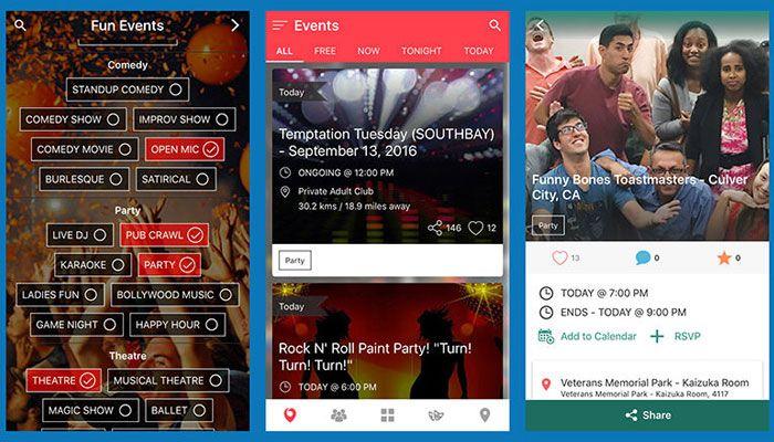 Screens in the Nearify app.
