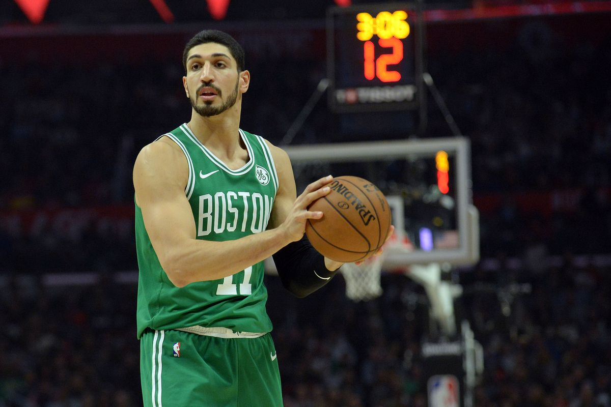 Boston Celtics center Enes Kanter  controls the ball against the Los Angeles Clippers during the second half at Staples Center. Mandatory Credit: