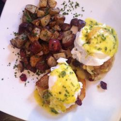pork belly benedict with brussel sprouts and dried cranberries