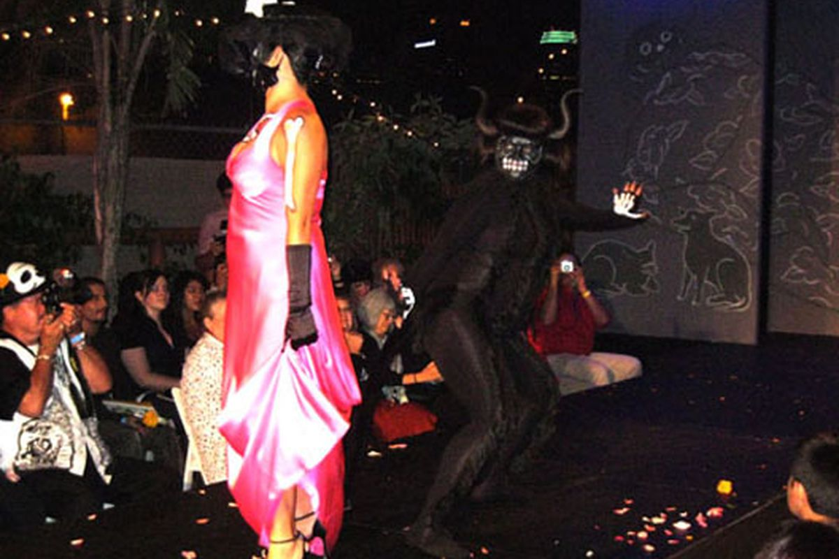 """Part fashion show, part horror show: A picture from last year's Calavera Fashion Show and Walking Altars. Image via <a href=""""www.lataco.com"""">LA Taco</a>"""