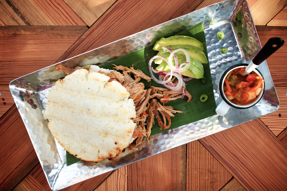 Chicken arepa at Plaza Colombian Coffee