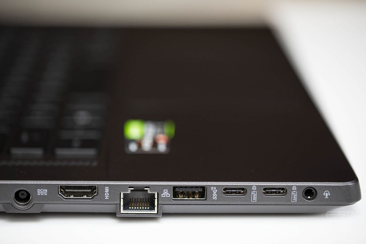 The ports on the left side of the Asus ROG Zephyrus G15.