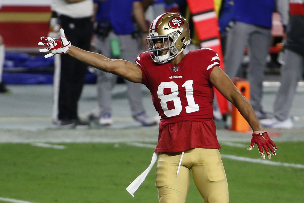 Jordan Reed #81 of the San Francisco 49ers signals a first down after making a catch against the Buffalo Bills during the first half of the NFL football game at State Farm Stadium on December 07, 2020 in Glendale, Arizona.