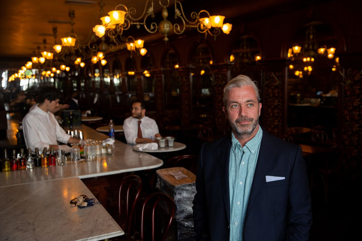 St. John Frizell prepared for the dinner rush at his new downtown Brooklyn restaurant Gage & Tollner, July 15, 2021.