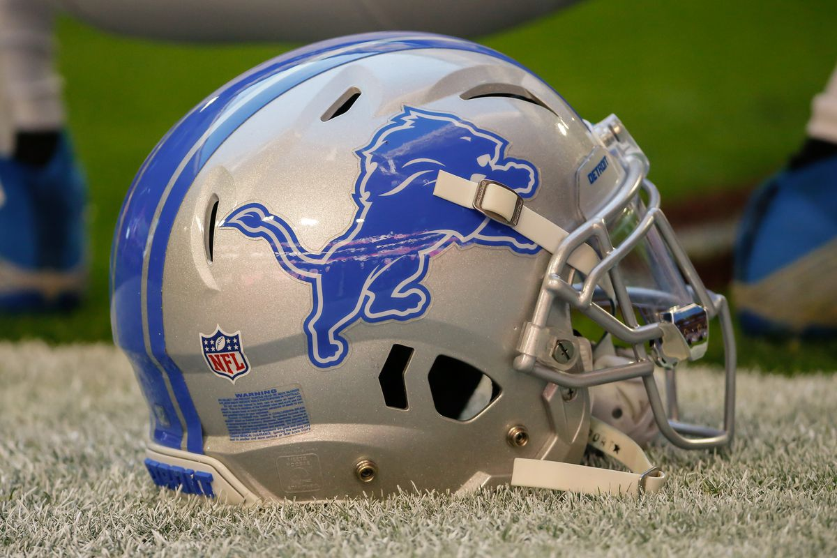 A Detroit Lions Helmet sits on the field before the NFL football game between the Detroit Lions and the Arizona Cardinals on December 9, 2018 at State Farm Stadium in Glendale, Arizona.