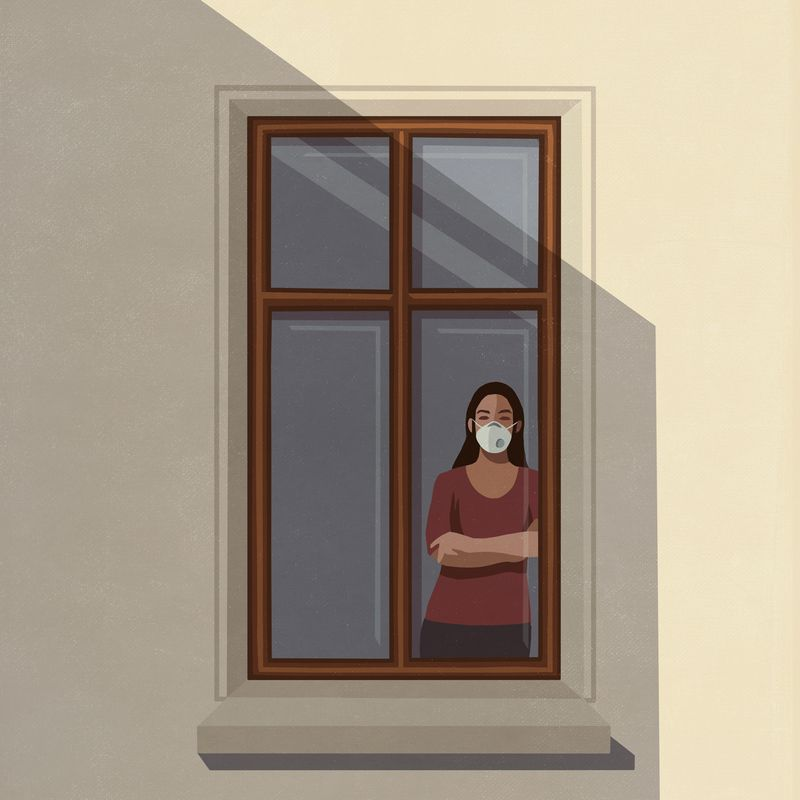A drawing of a person wearing a breathing mask, standing looking out of a window.