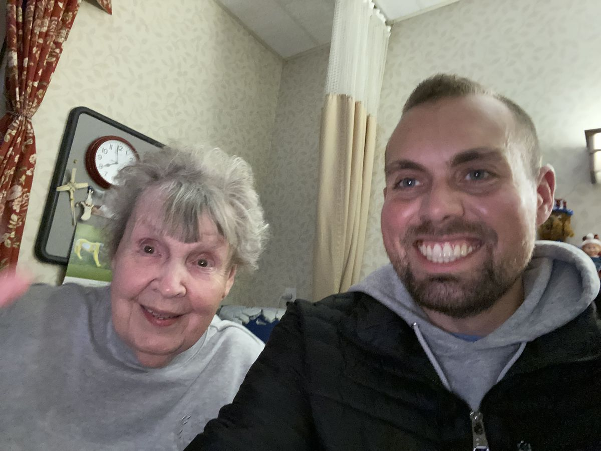 """A photo of me and my grandma """"Doonie"""" when we met up. Five months later, my aunt sends me a text. My grandma had tested positive for the coronavirus."""