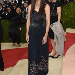 Katie Holmes wears a Zac Posen gown.