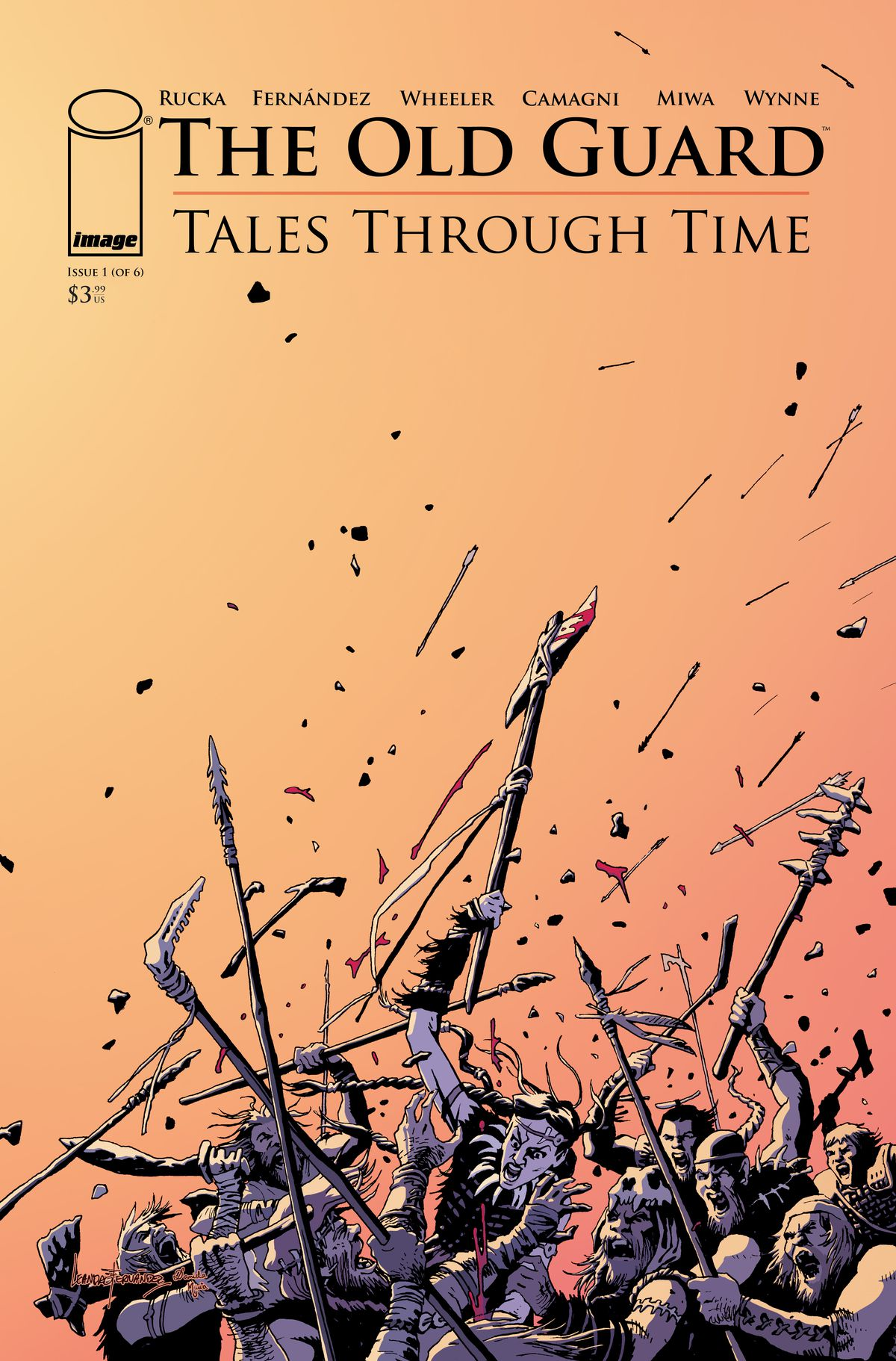 The Old Guard: Tales Through Time issue #1 cover - A war breaks out with clubs and spears