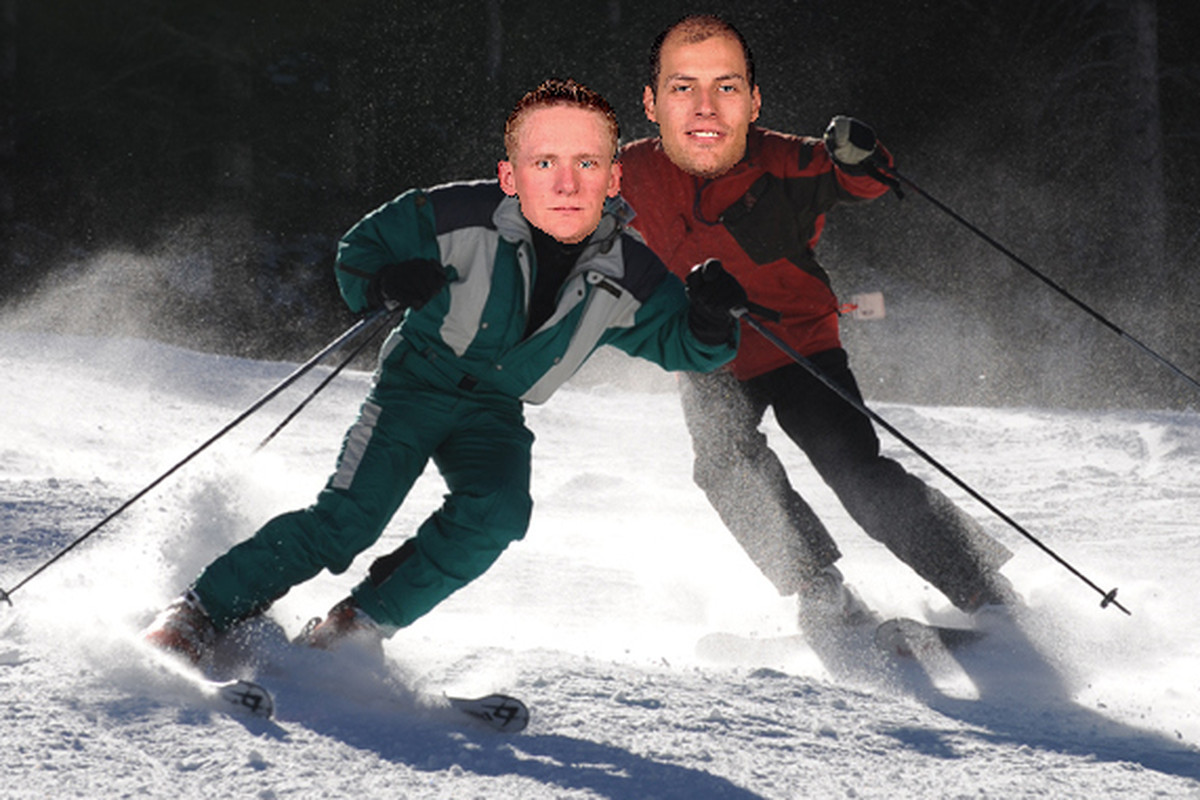 Perry and Getzlaf Skiing on an Avalanche together.