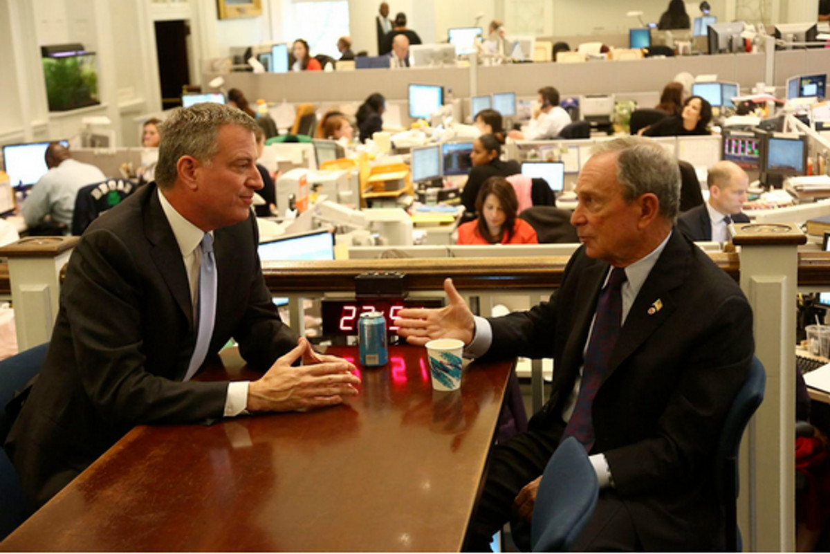 Bill de Blasio, fresh off his 2013 mayoral victory, meets with then-Mayor Mike Bloomberg.