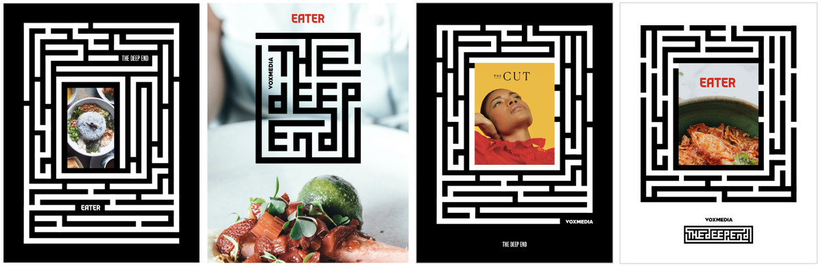 The Deep End posters with maze graphics and frames for photography