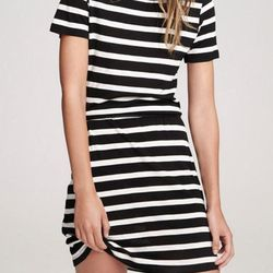"Lily Aldridge for Velvet ""Anna"" striped dress, <a href=""http://www.shoptiques.com/products/anna-stripe-dress"">$108</a>"