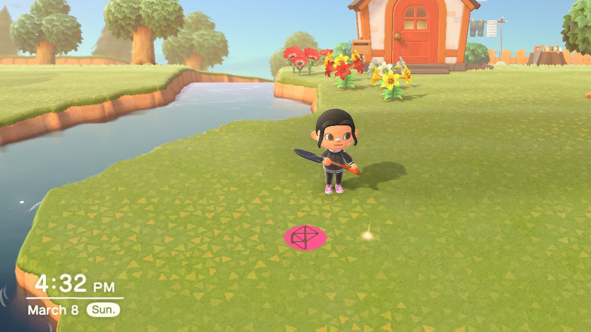 A spot on the grass glows as an Animal Crossing character prepares to dig it up