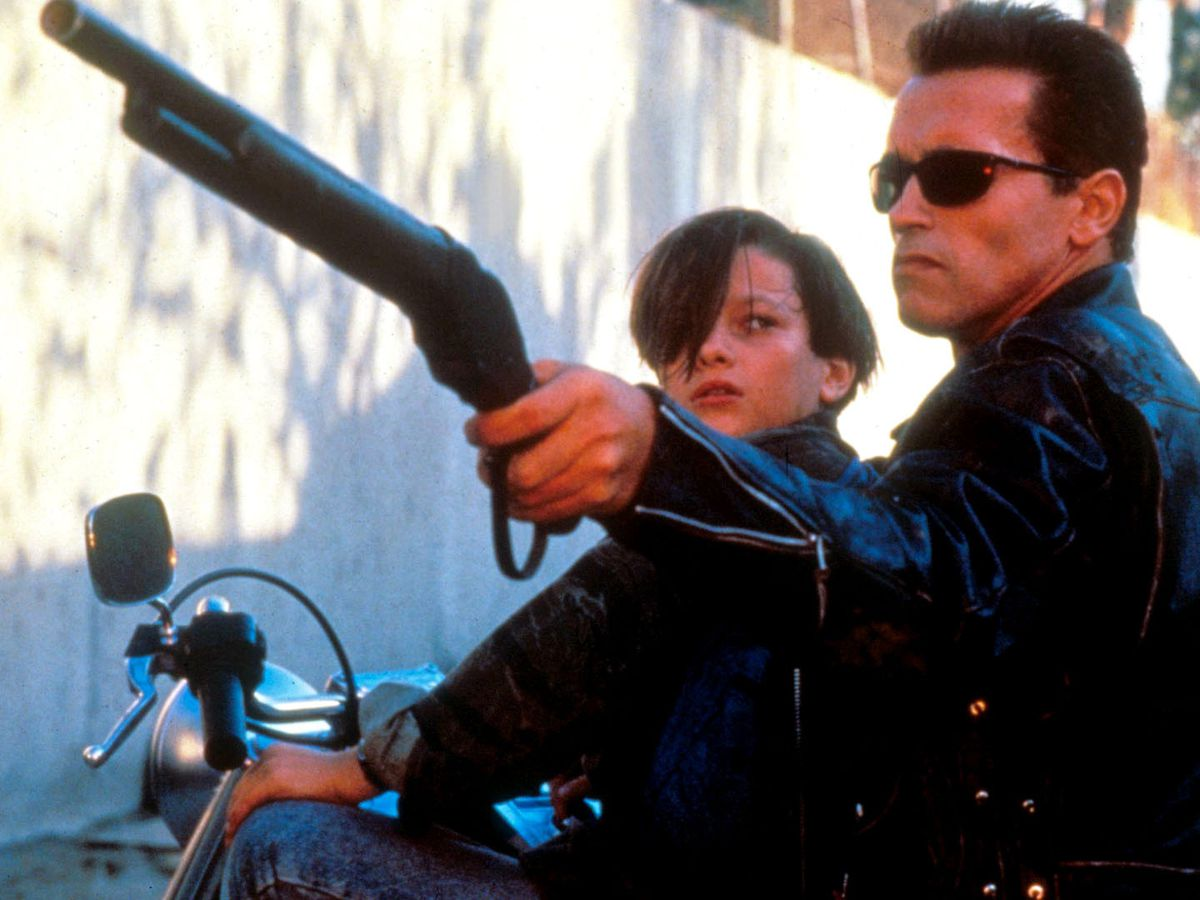 """The Terminator points his gun at the oncoming T-1000 in the Bull Creek spillway in """"Terminator 2."""""""