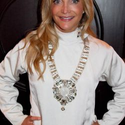 """The fencing participant who <a href=""""http://timmorehouse.wordpress.com/2011/03/01/the-most-impressive-fencing-feat-ive-ever-seen/"""" rel=""""nofollow"""">did the whole thing in heels</a>, seen here sporting a Ranjana Khan necklace."""