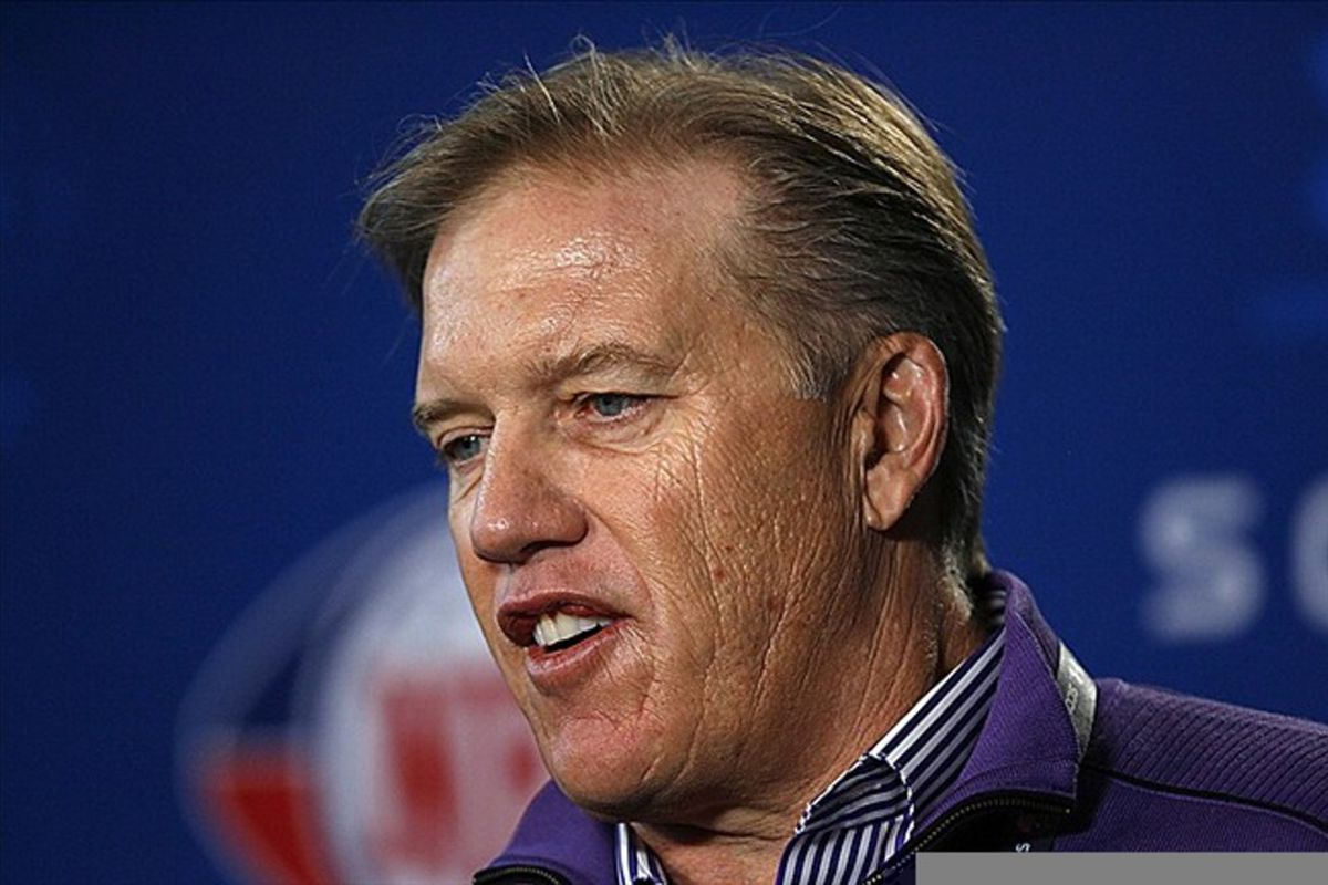 Feb 24, 2012; Indianapolis, IN, USA; Denver Broncos general manager John Elway speaks at a press conference during the NFL Combine at Lucas Oil Stadium. Mandatory Credit: Brian Spurlock-US PRESSWIRE