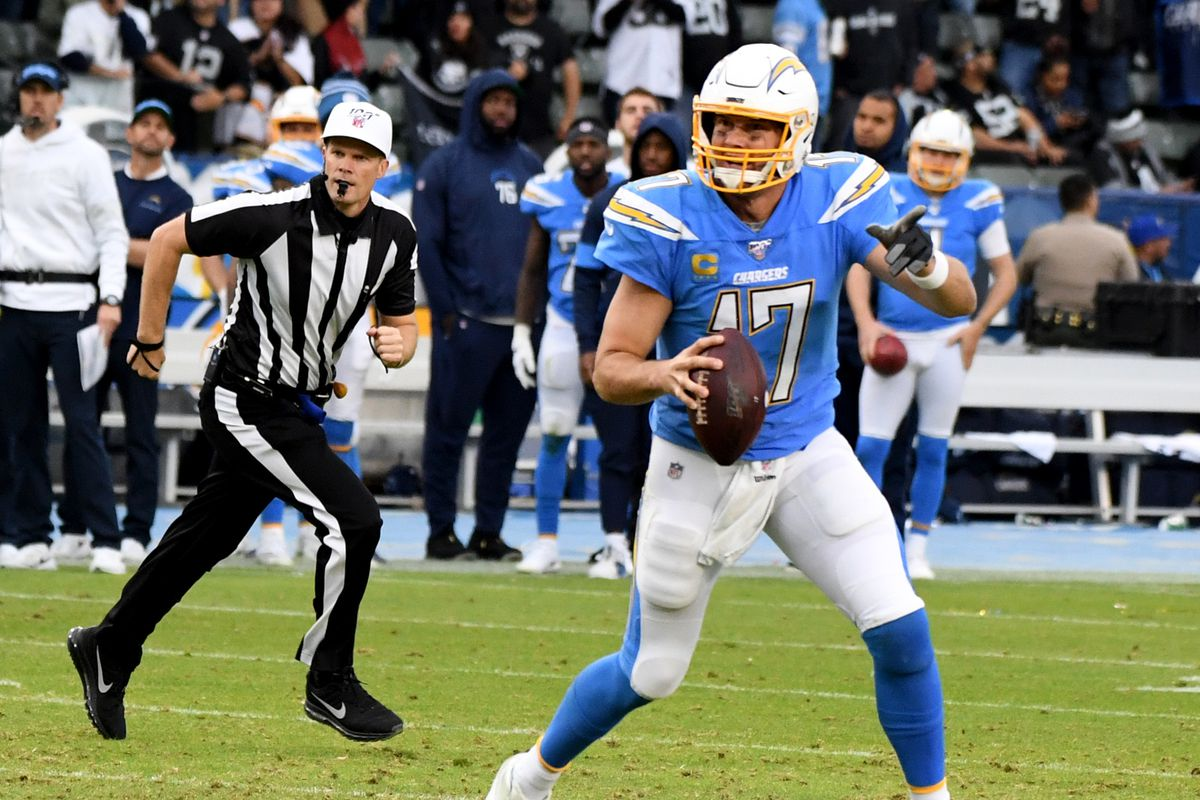 Quarterback Philip Rivers of the Los Angeles Chargers against the Oakland Raiders in the second half of a NFL football game at the Dignity Health Park on Sunday, December 22, 2019. Oakland Raiders won 24-17.