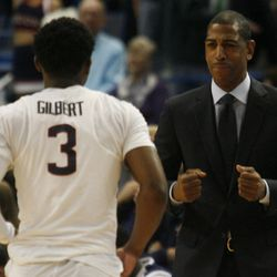 UConn head coach Kevin Ollie waits for Alterique Gilbert so he show some love before the BU game.