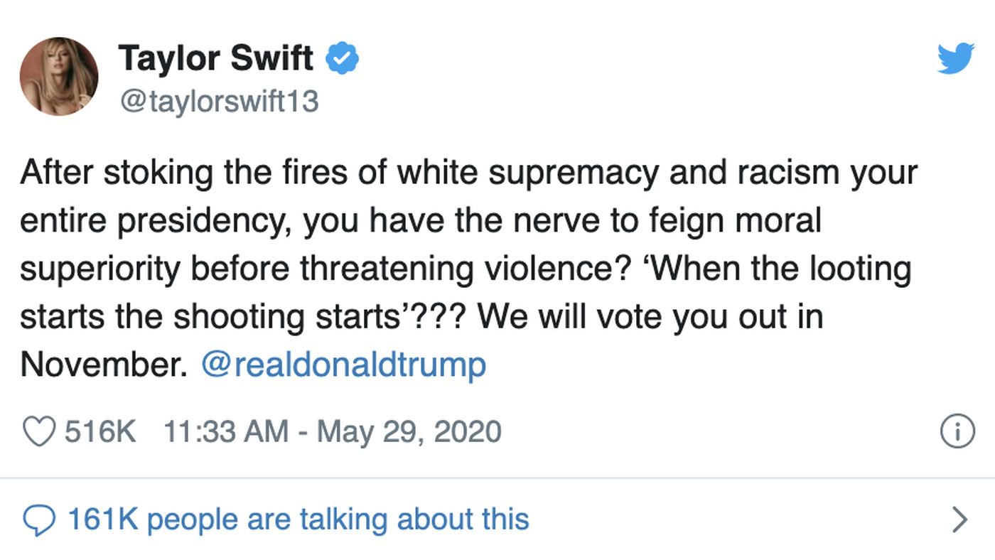 Taylor Swift Responds To Controversial Trump Tweet On Minneapolis Vox If trump has built his political power in part on his social media clout — and he has — he's facing some major. taylor swift responds to controversial