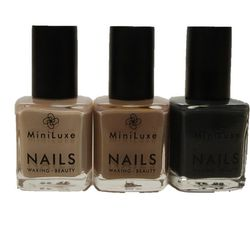 """<strong>MiniLuxe</strong> Polishes in Luxe Latte, Cappuccino, and Espresso, <a href=""""http://www.miniluxe.com"""">$8</a> each"""