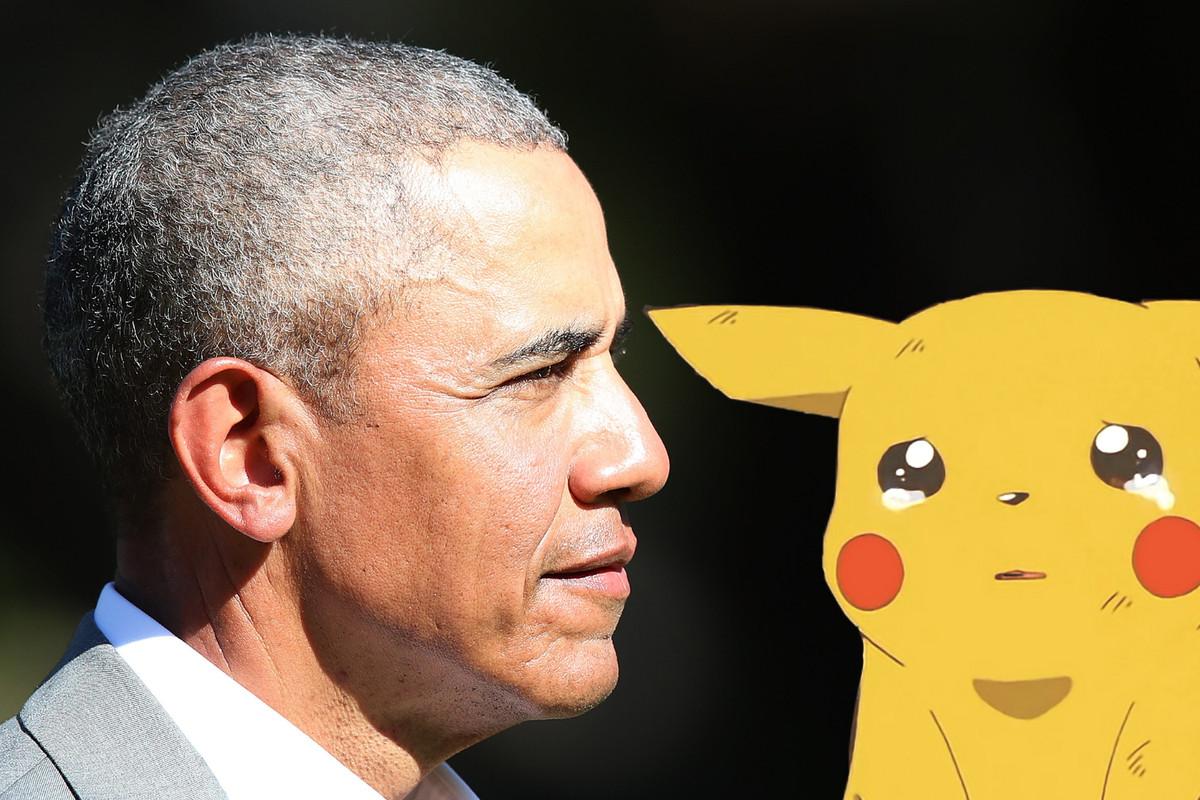 Barack Obama and a crying Pikachu