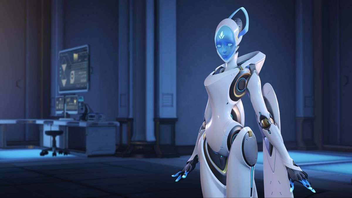 Echo stands in a laboratory in a screenshot from Overwatch