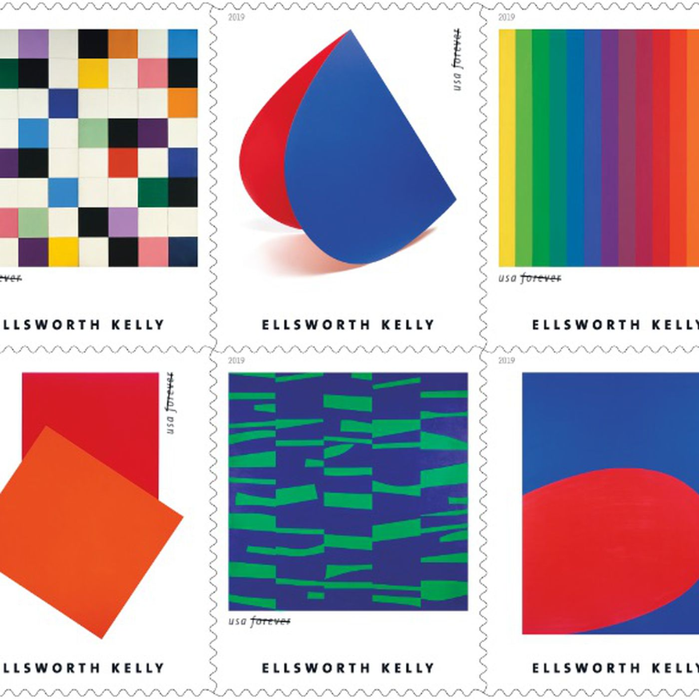 Ellsworth Kelly stamps are part of USPS 2019 releases - Curbed