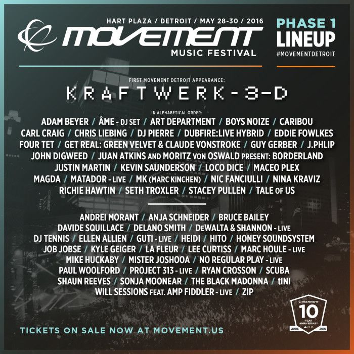 Movement Music Festival Phase 1 Lineup