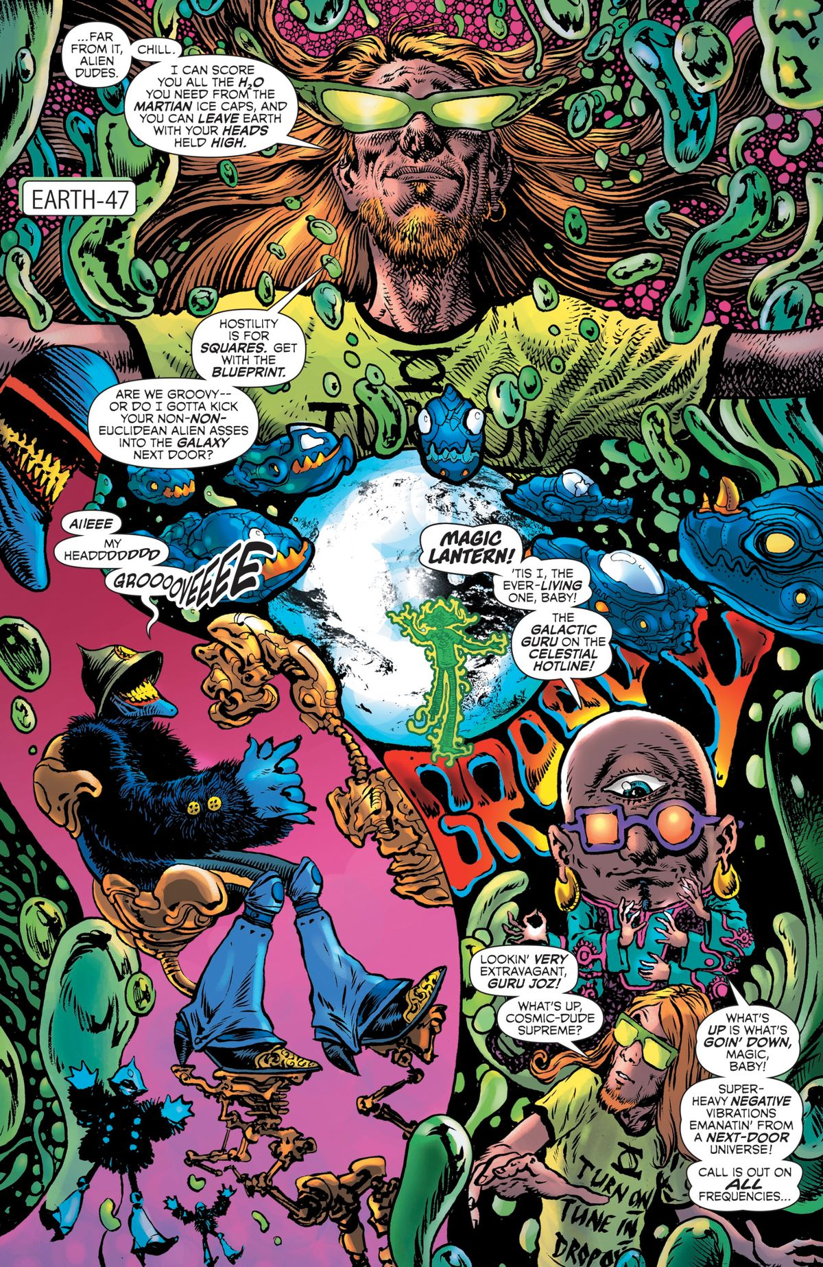 The Green Lantern of the far-out parallel world of Earth-47, Magic Lantern, appears in a psychadelic page where he defeats very Blue Meanie-reminiscent enemy and is contacted by the Ever-Living Guru Joz, who tells him of a multiversal threat.