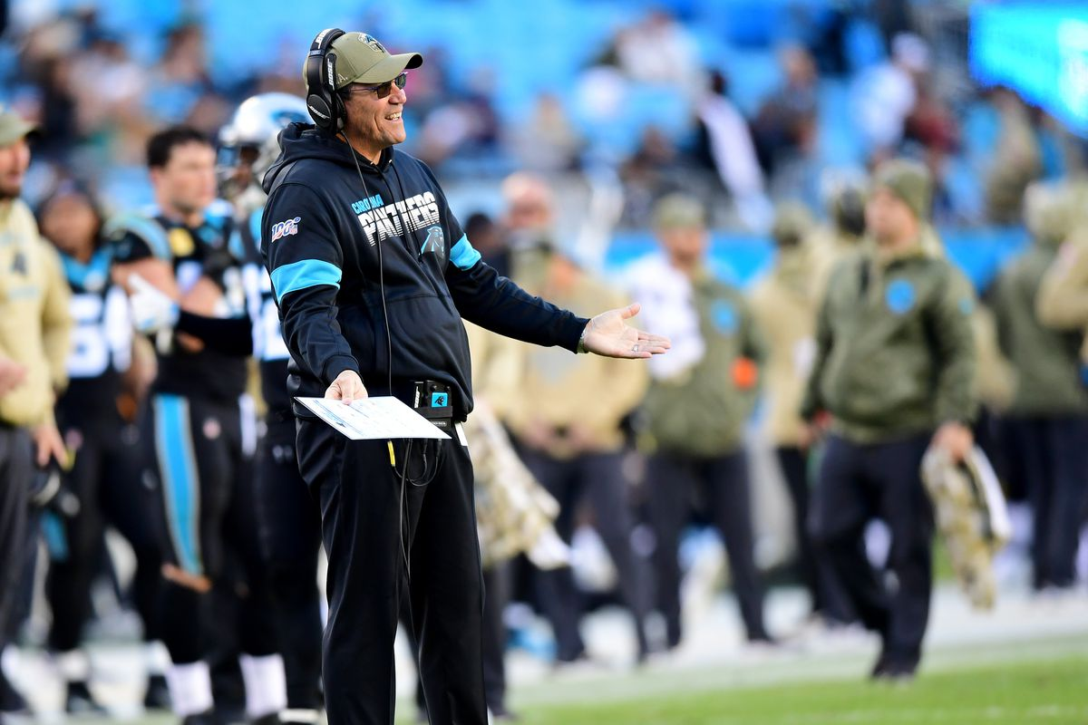 Head coach Ron Rivera of the Carolina Panthers during the second half during their game against the Atlanta Falcons at Bank of America Stadium on November 17, 2019 in Charlotte, North Carolina.
