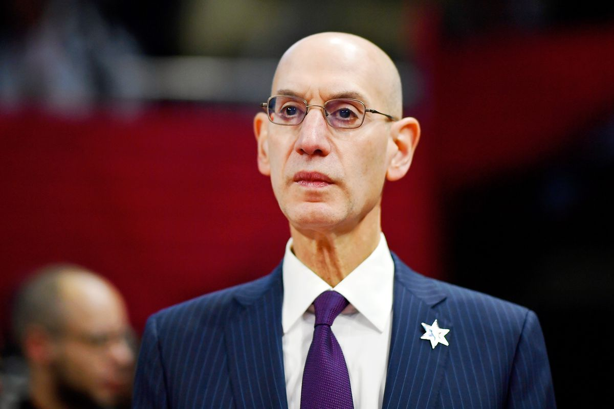 NBA Commissioner Adam Silver looks on during the NBA All Star-Celebrity Game at Wintrust Arena.
