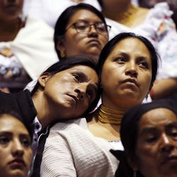 Those in attendance listen during a Latin America Ministry Tour devotional in Quito, Ecuador on Monday, Aug. 26, 2019.