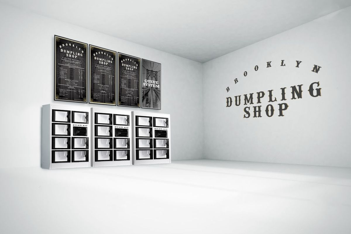 A rendering which shows stacks of glass boxes with menu boards above them.