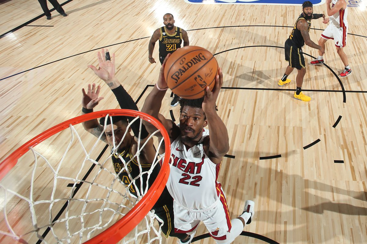 Jimmy Butler of the Miami Heat dunks the ball against the Los Angeles Lakers during Game Two of the NBA Finals on October 2, 2020 at AdventHealth Arena in Orlando, Florida.