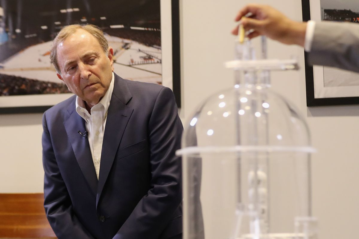 Commissioner of the National Hockey League Gary Bettman presides over Phase 1 of the 2020 NHL Draft Lottery on June 26, 2020 at the NHL Network's studio in Secaucus, New Jersey.