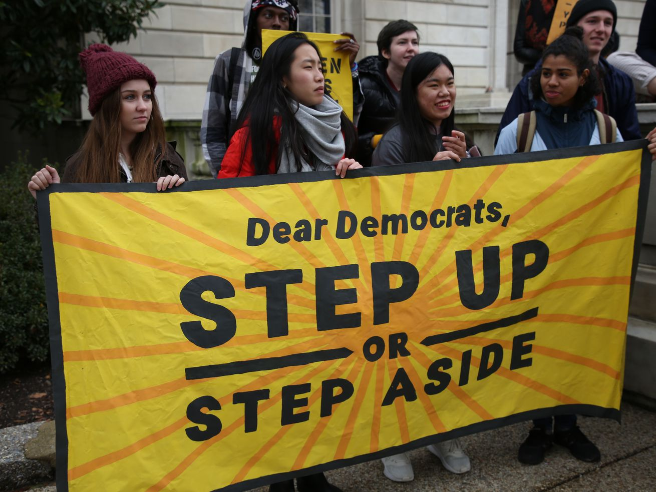 Sunrise Movement protesters urging Democrats to back a Green New Deal in late 2018.