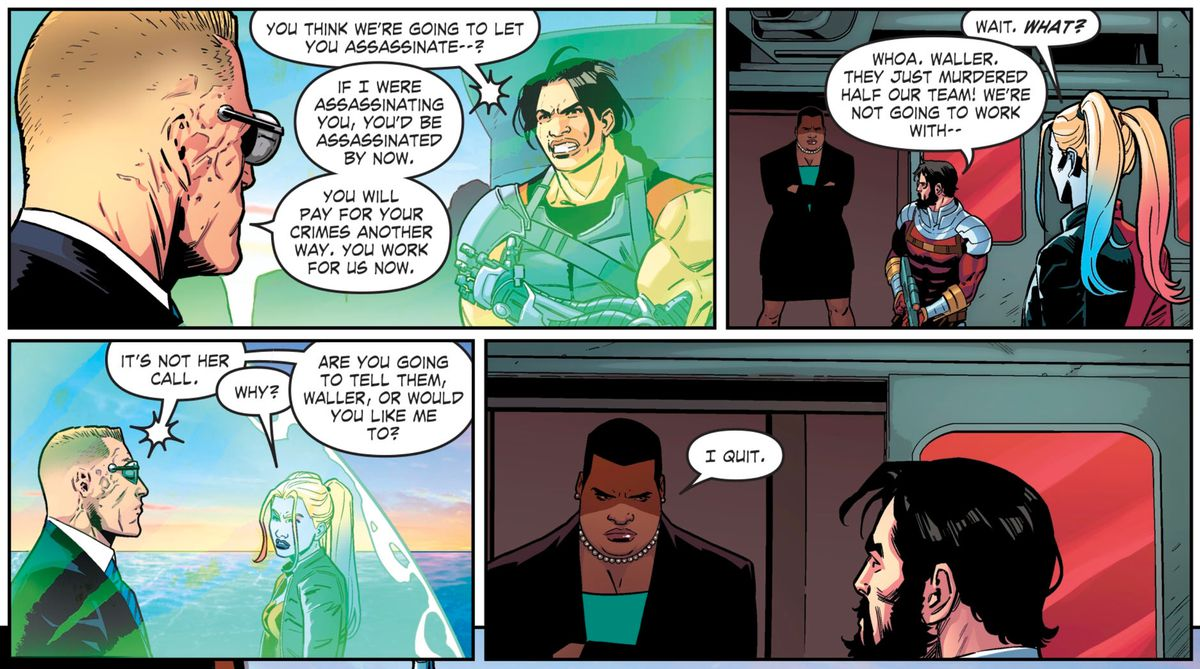 """When Lok tells the Suicide Squad the Revolutionaries will be pressed into working with them, Deadshot and Harley protest to Amanda Waller. """"I quit,"""" she says, in Suicide Squad #1, DC Comics (2019)."""